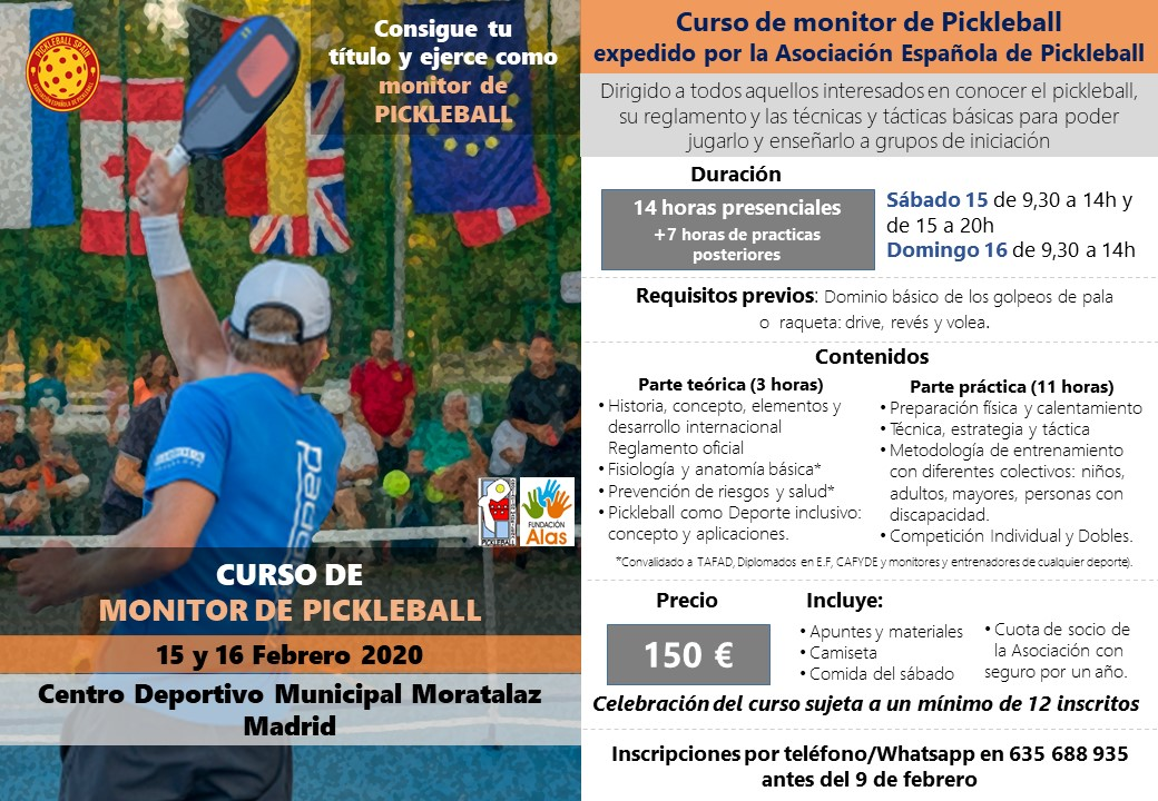 II Curso de formación para monitores de Pickleball @ Centro Deportivo Municipal Moratalaz Madrid